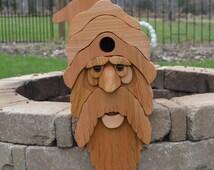 Large Bearded Old Man Cedar Birdhouse / Santa Claus Birdhouse