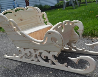 Handcrafted Victorian Wood Sleigh