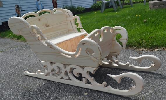 Trineo de madera victoriana 36 hechos a mano por for Trineo madera decoracion