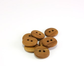 Handmade buttons - Set of 8 Applewood buttons - 20mm (25/32in) - Natural wood buttons
