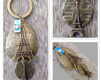 Vintage Style Antique Alloy Metal Bronze Eiffel Tower French Paris Keyring Keychain... 9.5cm In Length