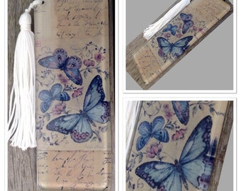 French Butterfly Vintage Style Antique Glass Bookmark with Tassle