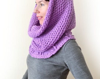 Cowl scarf Chunky knit scarf Gift for her Infinity scarf Lilac scarf Knit cowl Oversized scarf Wool scarf Hooded scarf Loop scarf Mom gift