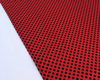 Ladybug Polka Dot Table Runner: Red and Black Accent Table Mat or Runner Ideal for a Ladybug Party, Insect Party, Carnival or Circus Party