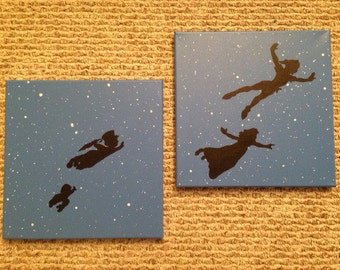 READY TO SHIP Peter Pan Flying Second Star To The Right Multiple Canvas Set of 2 12x12