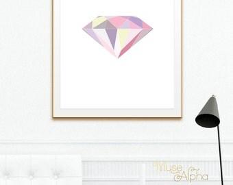 Yellow and Pink Geometric Diamond, Pink Diamond Printable. Modern Girl Room Decor, Modern Home Art, Modern Bedroom, Modern Powder Room Art