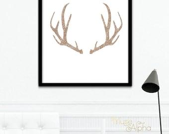 Rose Gold Glitter Antler Print, Antler Wall Art, Antler Wall Decor, Printable Antler Wall Art, Deer Antler Art Printable, 8x10 24x30 20x20