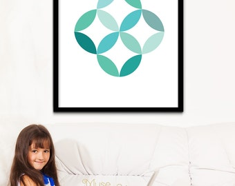 Mint Spring Wall Art, Mint Circular Prints, Mint Art, Turquoise Prints, Turquoise Printable Art, Wall Prints, Spring Art, Instant Download