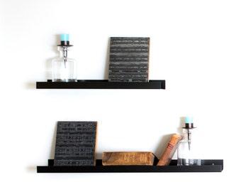 Black steel shelf