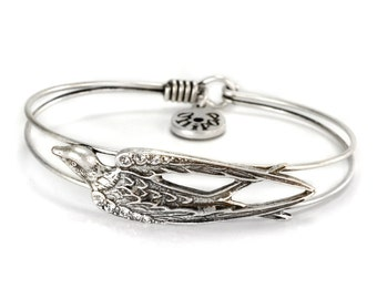 Bird Bracelet, Silver Bird Bracelet, Dove Bracelet, Swallow Jewelry, Bird Jewelry, Gift for Her, Animal Bracelet, Bird, Bangle BR351