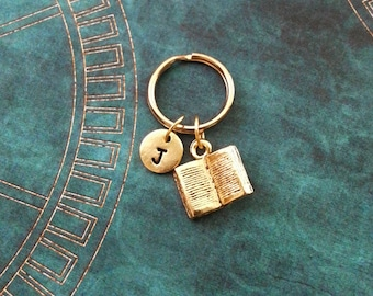 Book Keychain SMALL Book Keyring Personalized Keychain Book Gift Book Lover Open Book Charm Teacher Keychain Librarian Keychain Writer Gift