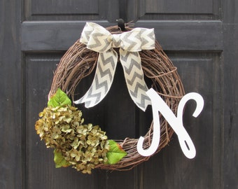 Green Wreath, Monogram Wreath for Front Door, Wreath with Initial, Letter Wreath with Green Hydrangeas, Everyday Wreath with Monogram