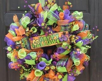 Halloween Deco Mesh Wreath, Halloween Wreath, Orange Green and Purple Wreath for Halloween, Happy Halloween Wreath, Halloween Door Wreath