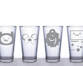 Adventure Time Pint Glass Set- Jake- Finn- Lumpy Space Princess- Beemo- Deep Etched