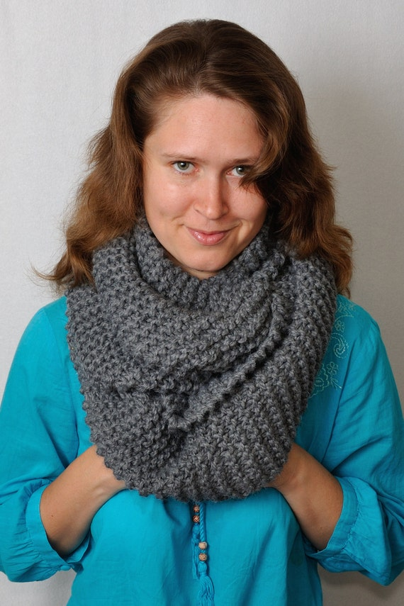 Chunky cowl scarf Hooded Scarf Knit Infinity by MeetBestKnit