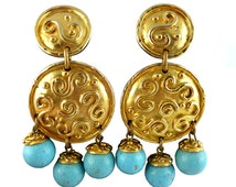 EDOUARD RAMBAUD * Gorgeous and massive vintage shield and turquoise dangling earrings