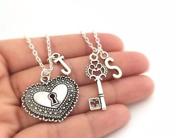 Set of 2 Initial Heart Lock and Key Necklace, Custom Key to my Heart Necklace Set, Friendship Necklaces, His And Hers Necklace, Couples Gift