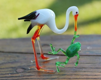 Glass stork figurine stork glass sculpture, Blown Glass, Sculpture Made Of Glass, Glass Art