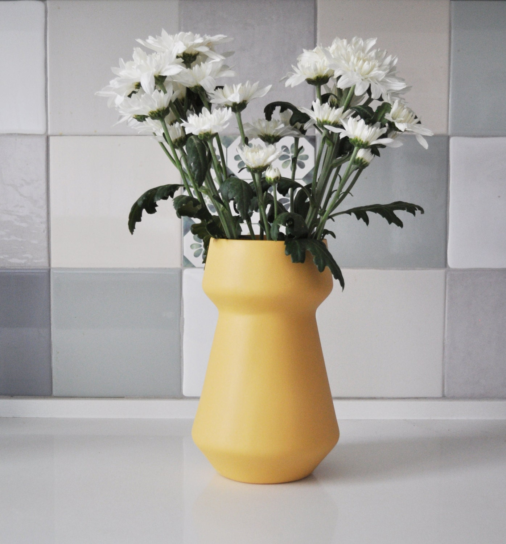 Flower vase ceramic flower pot pottery vase yellow pastel - Decorative flower vase ...