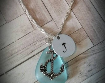 Custom Hand Stamped Nautical Anchor Necklace with Sea Glass
