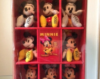 Vintage 1990's Minnie Mouse Through The Years 75TH Anniversary Disney Store Exclusive Collectible 8 Doll Box Set