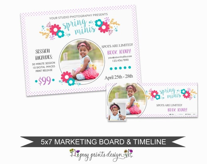 Spring Mini Session Marketing Board plus Facebook Timeline  - Template for Photographers - Digital Photoshop Template - 5x7 Design - SMS07B