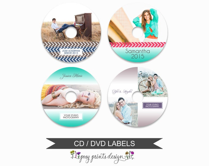 DVD CD Labels - Set of 4 - Template for Photographers - Digital Photoshop Template - Fading Colors