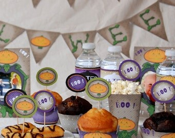 Halloween Party decor - Pumpkin Jack O' Lantern: cake toppers, wrappers, editable invitation more than 16 items