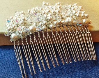 Crystal and Pearl Bridal Comb, Hand-Crafted