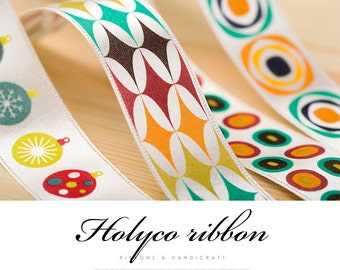 "HOLYCO Retro Patterns Ribbon. 1""(25mm) - 3 Type. made in Korea"