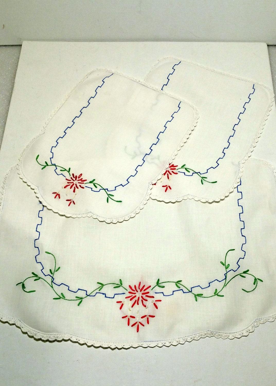 vanity dresser scarf set embroidered by