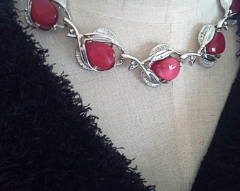 Red thermoset necklace silver leaf and chain