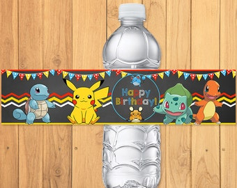 Pokemon Drink Label Chalkboard * Pokemon Water Bottle Label * Pokemon Birthday * Pokemon Printables * Pikachu Party * Pokemon Party Favors