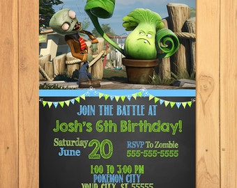 Plants Vs Zombies Invitation Chalkboard * Plants Vs Zombies Birthday * Plants Vs Zombies Printables * PVZ Invite * Plants Vs Zombies Favors