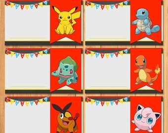 Pokemon Food Tents Chalkboard * Pokemon Food Label * Pokemon Birthday * Pokemon Printable * Pikachu Party * Pokemon Party Favor