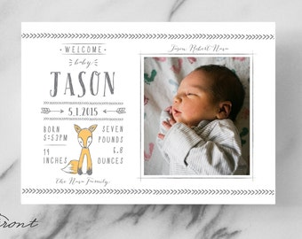 Animal Baby Announcement - Woodland Creature - Woodsy - Forest - Illustrated - Birth Announcement - Newborn - Invitation - Photo Card - Fox