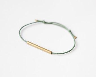 Brass Tube Bracelet - Minimalistic Bracelet - brass/copper tube - black/green/raspberry - simple minimal design - friendship