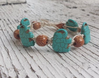 Turquoise Elephant and Wood Bead Hemp Bracelet