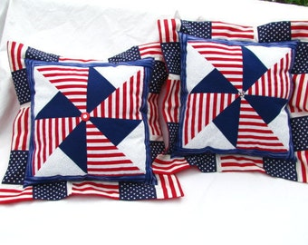 SUMMER SALE! Red, White & Blue Pinwheel Pillow (Large)