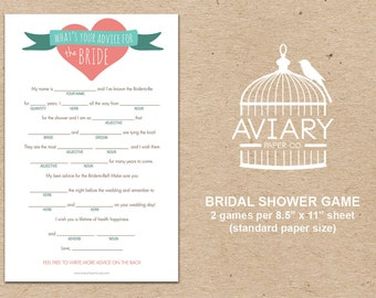 Bridal Shower Game - Advice for the Bride MADLIBS