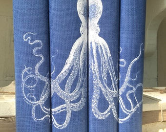 Octopus Decorative Books, Decorative Books with Octopus Book Covers, Blue Books, Beach Decor, Beach House Books, Coastal Decor, Blue Books