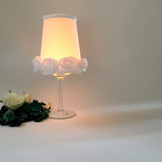 Lace White Roses Wedding Table Centerpiece Candle Holder