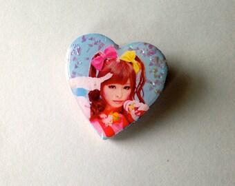 kyary pamyu pamyu glitter fangirl pinback button/pin brooch