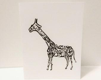 Giraffe Card Arabic Calligraphy Original any occasion set (blank inside, folded card)