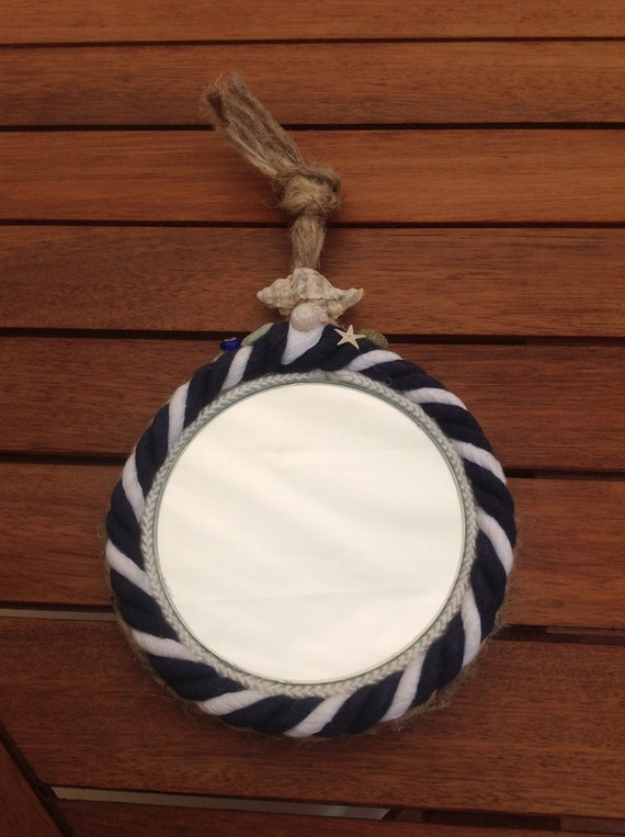 nautical navy white small round mirror seaglass sea. Black Bedroom Furniture Sets. Home Design Ideas