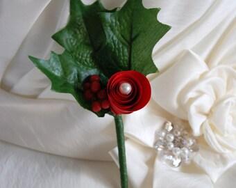 Paper flowers winter wedding buttonhole