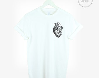 ANATOMICAL HEART pocket t-shirt print graphic shirt tee unisex men women cute love tumblr pinterest instagram weed 100% cotton *brand new