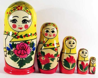 Nestind dolls matryoshka traditional Semyonovskaya - Natasha handmade