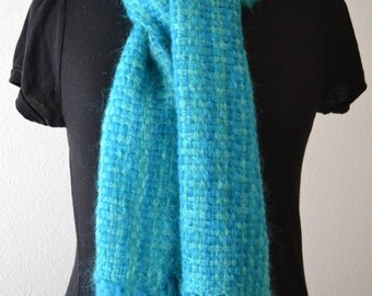 Handwoven Mohair Scarf - Blue and Green stripes