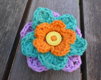 Crochet Vegan Flower Pin Badge Brooch